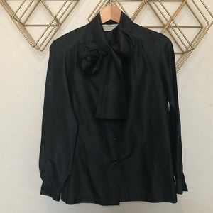 Tops - Vintage Black Blouse with long Bow / sash collar